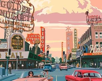 Las Vegas Old Strip Scene (Art Prints available in multiple sizes)