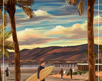 Pismo Beach, California - Surfer and Pier (Art Prints available in multiple sizes)