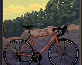 Vermont - Bicycle Scene (Art Prints available in multiple sizes)