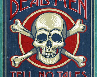 Skull and Crossbones - Vintage Sign (Art Prints available in multiple sizes)