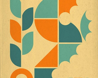Seahorse Geometric (Tan) (Art Prints available in multiple sizes)