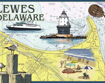 Lewes, Delaware - Nautical Chart #2 (Art Prints available in multiple sizes)
