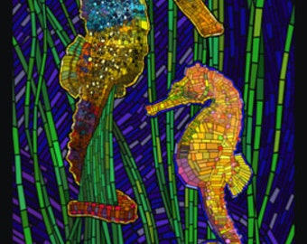 Seahorses - Paper Mosaic (Art Prints available in multiple sizes)