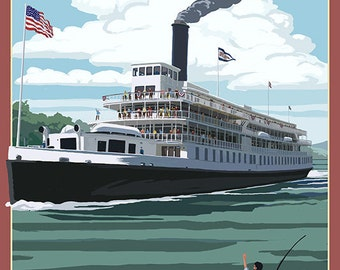 Mississippi - Riverboat and Rowboat (Art Prints available in multiple sizes)