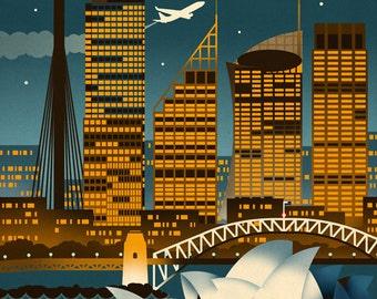 Sydney, Australia - Retro Skyline (Art Prints available in multiple sizes)