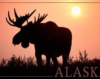 Alaska - Moose Silhouette (Art Prints available in multiple sizes)