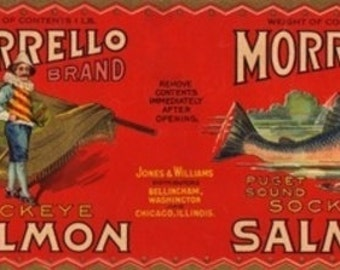 Morrello Brand Salmon Label - Bellingham, WA (Art Prints available in multiple sizes)