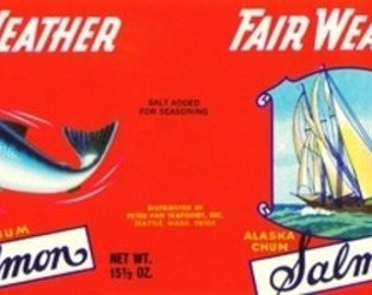 Fair Weather Brand Salmon Label - Seattle, WA (Art Prints available in multiple sizes)