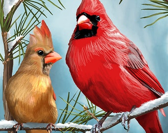 Cardinals in Winter (Art Prints available in multiple sizes)