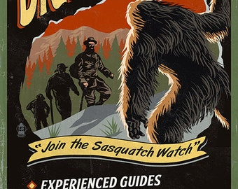 Uinta Mountains, Utah - Bigfoot Tour - Vintage Sign (Art Prints available in multiple sizes)