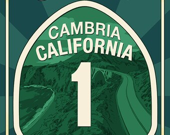 Cambria, California - Pacific Coast Highway 1 Sign (Art Prints available in multiple sizes)