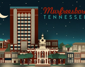 Murfreesboro, Tennessee - Retro Style Skyline (Art Prints available in multiple sizes)