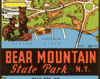 Bear Mountain State Park - Vintage Window Decal (Art Prints available in multiple sizes)