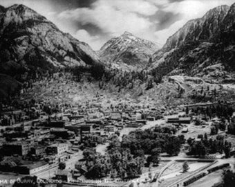 Ouray, Colorado - Panoramic View of Town, Mt Abram Photograph (Art Prints available in multiple sizes)