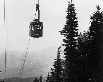 Franconia Notch State Park, NH - View of the Cannon Mountain Aerial Tramway (Art Prints available in multiple sizes)