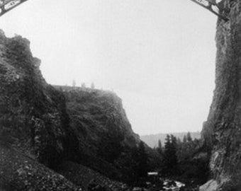 Crooked River, Oregon - View of O.T. Bridge Under Construction (Art Prints available in multiple sizes)