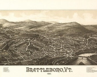 Brattleboro, Vermont - Panoramic Map (Art Prints available in multiple sizes)