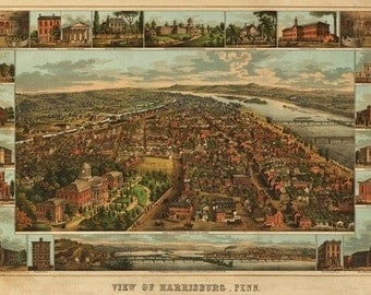 Harrisburg, Pennsylvania - Panoramic Map (Art Prints available in multiple sizes)