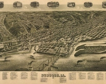 Dubuque, Iowa - Panoramic Map (Art Prints available in multiple sizes)