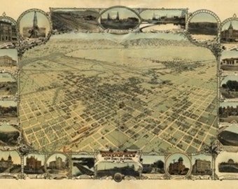 Bakersfield, California Panoramic Map (Art Prints available in multiple sizes)