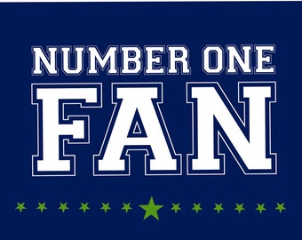 Monogram - Game Day - Blue and Green - Number One Fan (Art Prints available in multiple sizes)