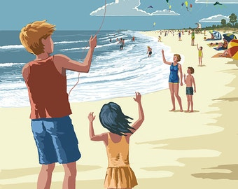 Kite Flyers (Art Prints available in multiple sizes)