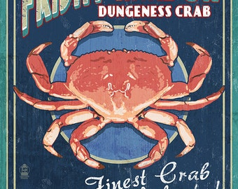 Friday Harbor, San Juan Island, WA - Dungeness Crab Vintage Sign (Art Prints available in multiple sizes)