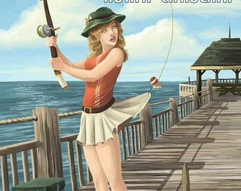 Nags Head, North Carolina - Pinup Girl Fishing (Art Prints available in multiple sizes)