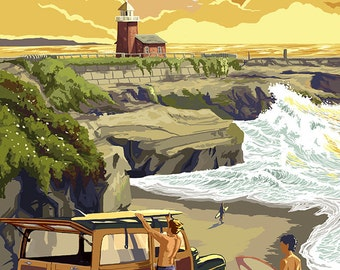 Orange County, California - Woody and Beach (Art Prints available in multiple sizes)