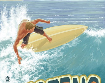 California - Surfer (Art Prints available in multiple sizes)