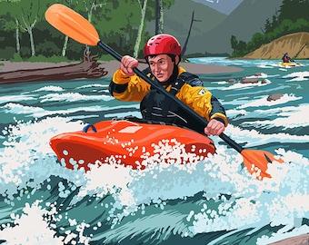 Kayak Oregon - River Scene (Art Prints available in multiple sizes)