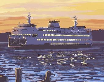 Mukilteo, Washington - Ferry at Sunset (Art Prints available in multiple sizes)