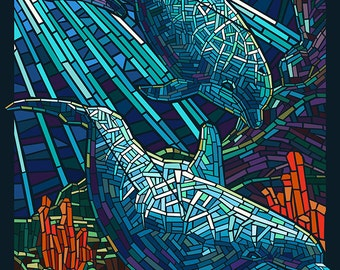 Key West, Florida - Dolphin Mosaic (Art Prints available in multiple sizes)