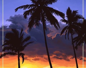 Daytona Beach, Florida - Palms and Sunset (Art Prints available in multiple sizes)