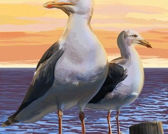Seabrook Island, South Carolina - Seagulls (Art Prints available in multiple sizes)