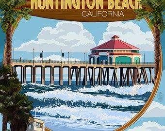 Huntington Beach, California - Montage Scenes (Art Prints available in multiple sizes)