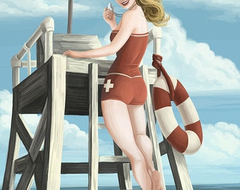 South Bay, California - Lifeguard Pinup (Art Prints available in multiple sizes)