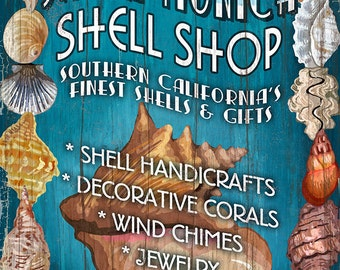 Santa Monica, California - Shell Shop Vintage Sign (Art Prints available in multiple sizes)