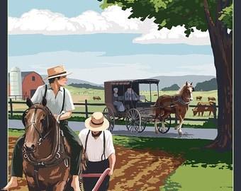 Smicksburg, Pennsylvania - Amish Farm Scene (Art Prints available in multiple sizes)