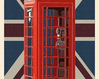 British Phone Booth - Letterpress (Art Prints available in multiple sizes)