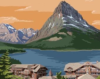 Many Glacier Hotel - Glacier National Park, Montana (Art Prints available in multiple sizes)