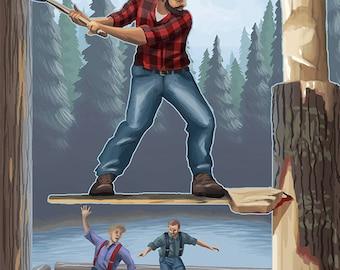 Deposit, New York - Lumberjacks (Art Prints available in multiple sizes)