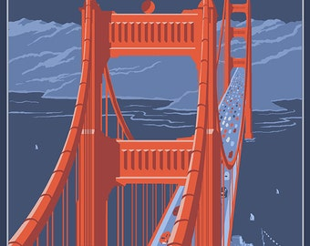 San Francisco, California - Golden Gate Bridge (Art Prints available in multiple sizes)