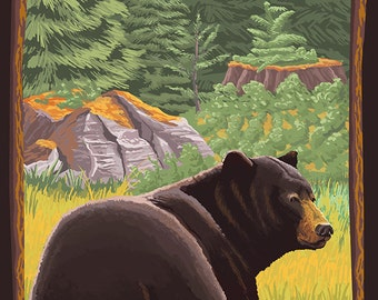 Smithers, BC - Bear in Forest (Art Prints available in multiple sizes)