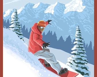 Snowboarder Scene - Alaska (Art Prints available in multiple sizes)