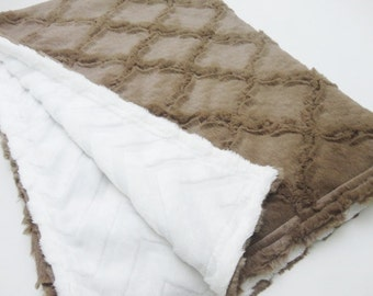 Minky Baby Blanket - Cocoa Lattice & Ivory Chevron - Gender Neutral - Made to Order