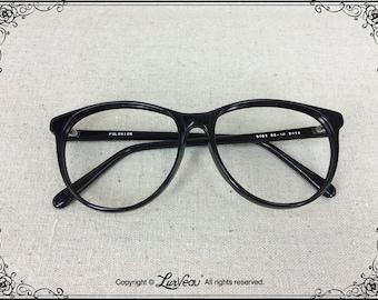 Lurveau® Authentic Vintage Rounded Geek Acetate Frames 1980's (Black) (no lens)