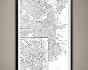 Map of BOSTON Print, Wall Decor for your Home or Office