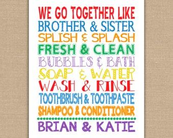 We Go Together Like Brother and Sister Bathroom sign. Custom Names on Kids Bathroom Wall Art. Jack and Jill Bathroom Decor. DIGITAL file