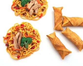 Two Servings of Chicken Chow Mein and Four Egg Rolls Chinese Food - Handmade Gourmet Doll Food For Your American Girl Doll